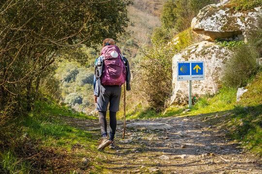 Pilgrim Girl with Hiking Gear Walking outside Molinaseca on Way of St James Camino de Santiago  Pilgrimage Trail in Spain