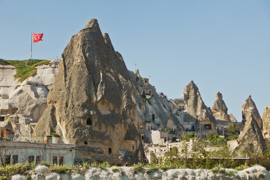 Lendscape detail with magnificent stone structures and caves at Goreme, Cappadocia, Anatolia, Turkey
