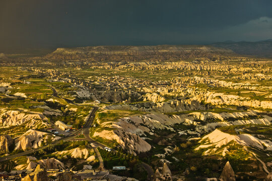 View from the top of Uchisar castle mountain on surrounding landscape of  Cappadocia in Anatolia, Turkey