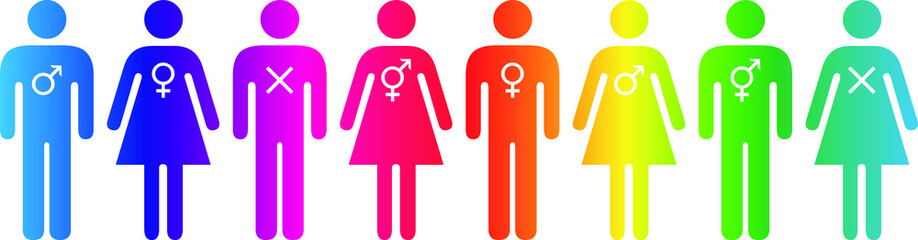 Fototapeta People icons - gender fluidity, gender identity, sexuality. Rainbow in a row.