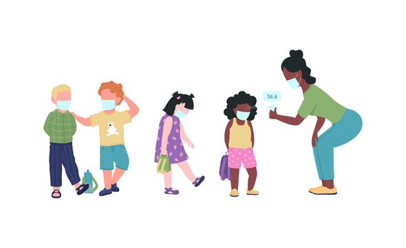 Preschool teacher check kids temperature during covid flat color vector faceless characters. Kindergarten during pandemic. New normal isolated cartoon illustration for web graphic design and animation