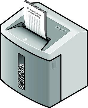 An office paper shredder destroying a Memorandum of Understanding.