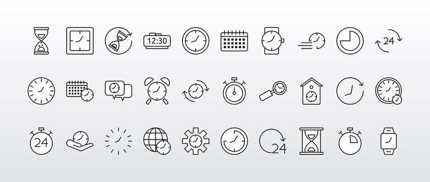 bundle of thirty time clocks line style set icons