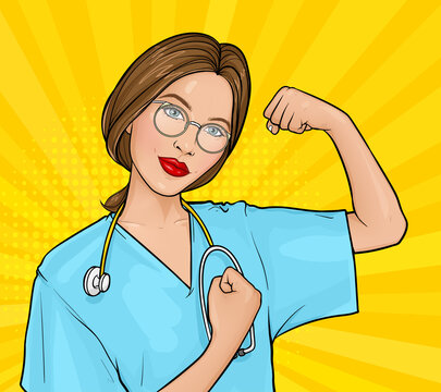 Vector pop art illustration of a doctor woman with glasses in uniform demonstrating her strength by fist. Motivating poster with a medical nurse We can do it. Medicine and healthcare concept.