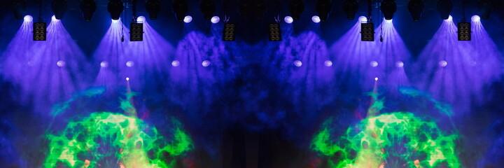 Stage light and smoke on stage, lighting and spotlights.