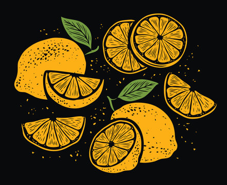 Fresh lemons, leaves. Vibrant juicy ripe citrus. Set of whole, cut in half, sliced on pieces fruits