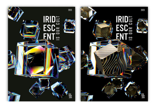 Trendy Design Posters Layout with Composition of 3D Translucent Iridescent Cubes