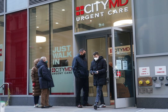 People line up for Covid tests at a City MD Urgent Care in New York