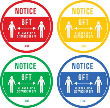 covid decal floor stickers notice 6ft distance coloured