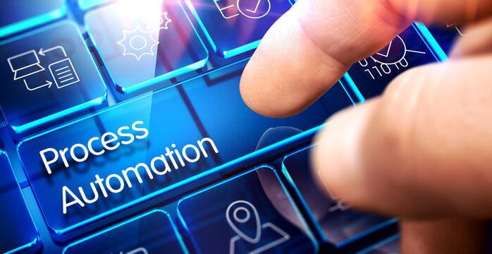 Process Automation Key on the Futuristic Keyboard.Process Automation Written on Blue Transparent Key of Futuristic Keyboard. 3D Illustration.