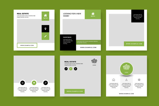 Real estate social media layouts with green elements, square web banners for selling houses, interior and exterior graphic templates