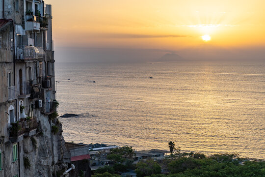 Scenic sunset viewed form Tropea historic center, Calabria, Italy