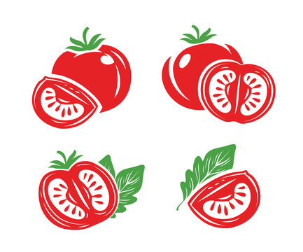Fresh red tomatoes set symbols. Half, slice of tomato
