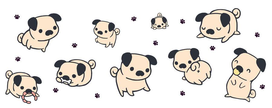 Kawaii pugs banner. Little dogs.