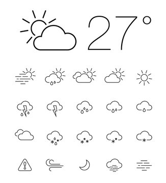Line weather icons set. Hand drawn weather forecast design elements isolated. Contains elements and icons of the sun, clouds, snowflakes, storms, wind, rain, and more for weather forecasting.