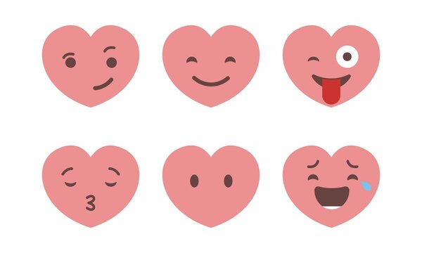 Set of six heart shaped emoticons. Vector emoji heads in the shape of hearts with different emotions on the face. Icons isolated on white background
