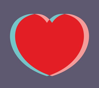 Big red heart anaglyph on a purple background. Splits into turquoise and pink. Stylization for a three-dimensional image. Valentines day symbol