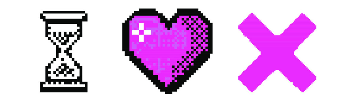 Pixel art user interface elements: heart, cursor and cross. Vaporwave and retrowave style graphics like in old computer games of the 90's.