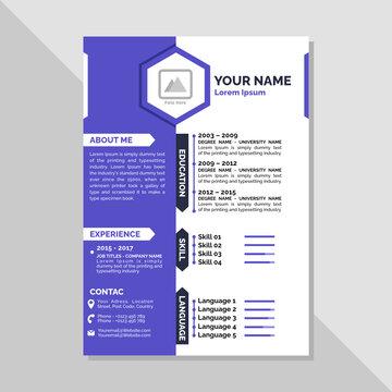Creative modern CV Design Template Purple Minimalist Elegant with free icon info