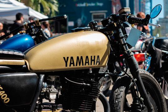 Vintage Cafe Racer style Yamaha motorcycle