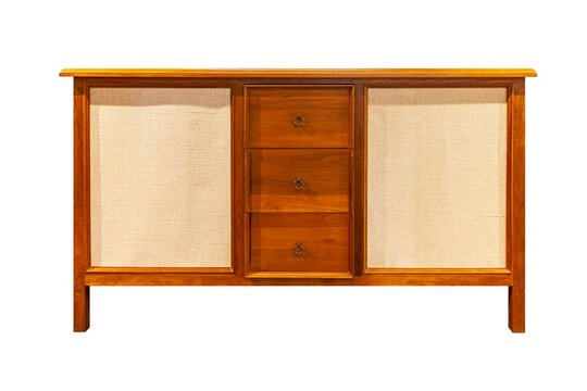 Vintage brown wooden cabinet isolated on a white background