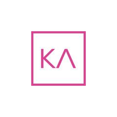Obraz Creative initial letter KA square logo design concept vector - fototapety do salonu