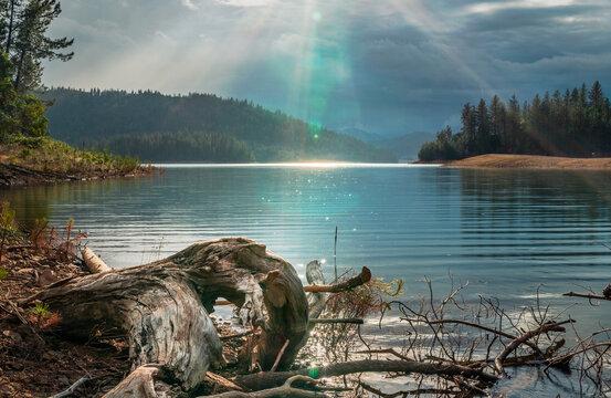 Sun during rainstorm at Whiskeytown Lake, Redding, Northern California