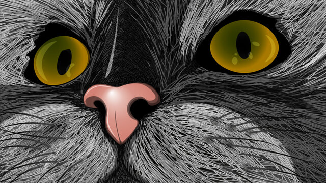 Gray cat with eyes (illustration)