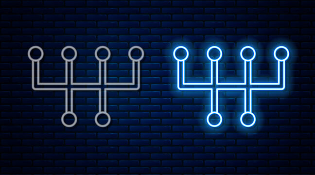 Glowing neon line Gear shifter icon isolated on brick wall background. Transmission icon. Vector.