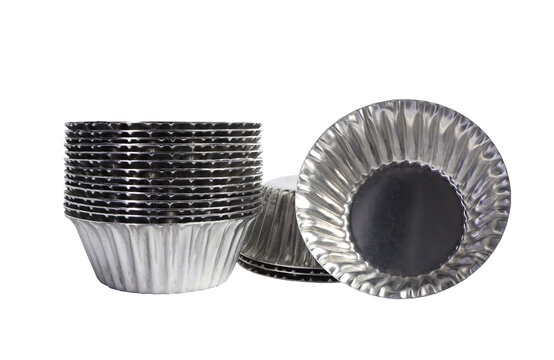 Aluminium cup cakes molds on white background, clipping path included.