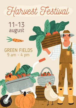 Template design of announcement flyer with place for text. Promo poster or banner for organic and local market event. Vertical flat textured vector illustration with happy farmer and vegetables