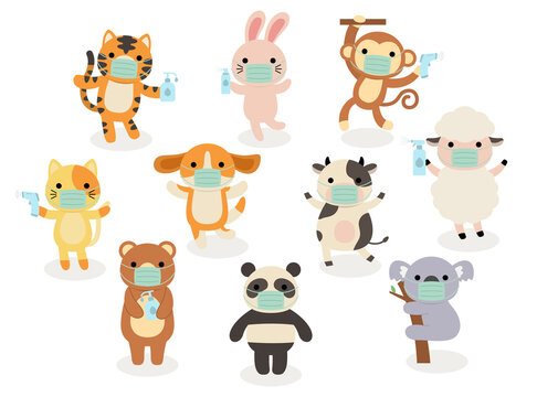 Big set of isolated animals.  wearing face mask, sanitizing, temperature checking, funny animals. Cute animals: cat, rabbit, dog, monkey, cow, tiger, Koala, bear, panda in cartoon.