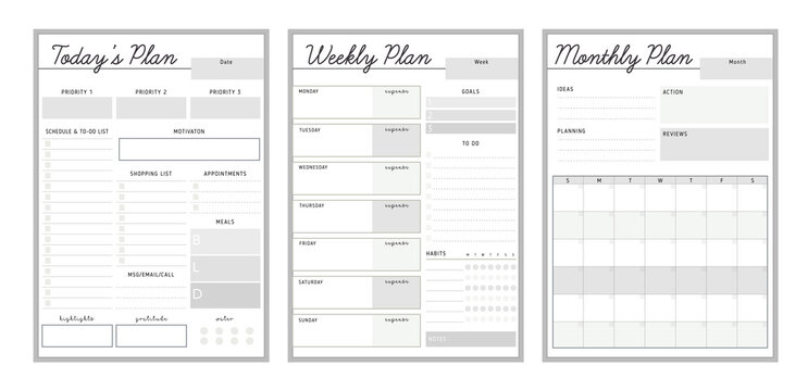 3 Set of Daily Weekly Monthly planner printable template Vector. Easy to plan your day. Blank printable vertical notebook page. Business organizer.