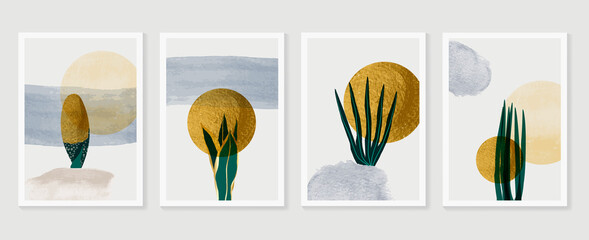 Gold tropical wall arts vector. Botanical line art drawing with watercolor brush. Plant Art design for wall framed prints, canvas prints, poster, home decor, cover, wallpaper.