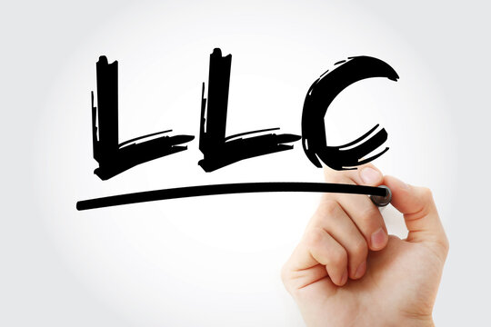 LLC - Limited Liability Company acronym with marker, business concept background