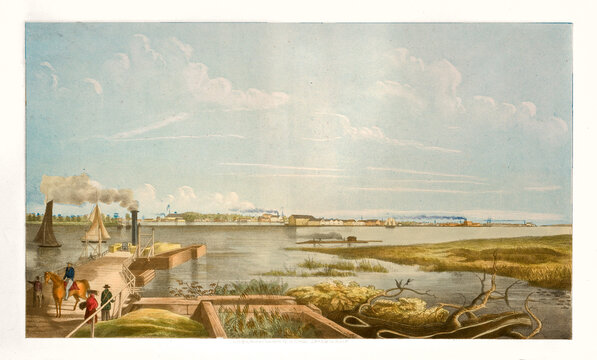 view of Charleston far in the distance from a dock on Ashley river shore, South Carolina. Highly detailed vintage style color illustration by Keenan, U.S., 1845