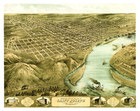 Top panoramic aerial view of Saint Joseph, Missouri. Grid roads city rising on river shore. Highly detailed vintage style color illustration by unidentified author, U.S., 1868