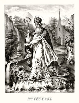 Old illustration depicting St. Patrick banishing and trampling snakes from Ireland. Highly detailed vintage style gray tone illustration by unidentified author, U.S., 1872