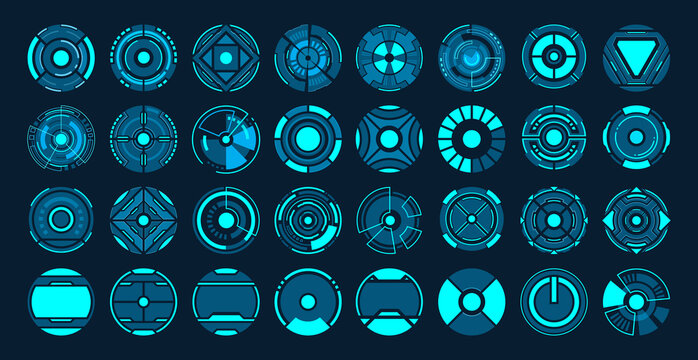 32 Circle futuristic interface hud vector design.
