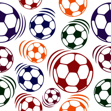 Pattern with simple multi-colored soccer balls on a white background