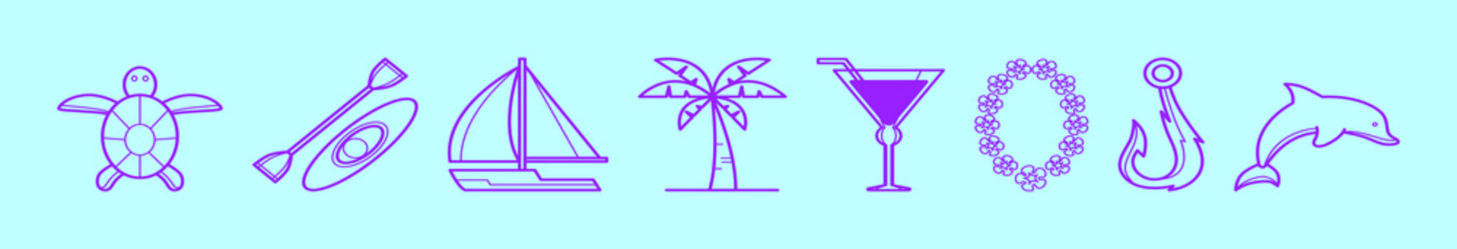 set of tropical island cartoon icon design template with various models. vector illustration isolated on blue background