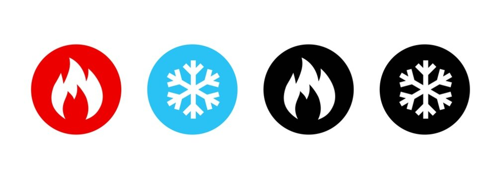 Set of heating and cooling icons. Hot and cold icon. Fire and snowflake sign. Heating and cooling button. Vector EPS 10. Isolated on white background