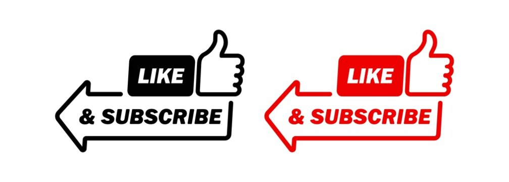 Subscribe icon. Like and subscribe button. Social media concept. Vector EPS 10. Isolated on white background