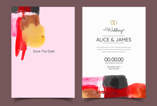 minimalistic hand painted abstract for a wedding invitation, postcard or brochure cover design