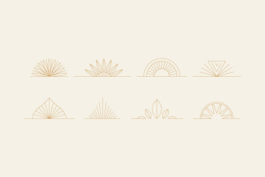elements-03Vector set of linear boho icons and symbols - sun logo design templates  - abstract design elements for decoration in modern minimalist style
