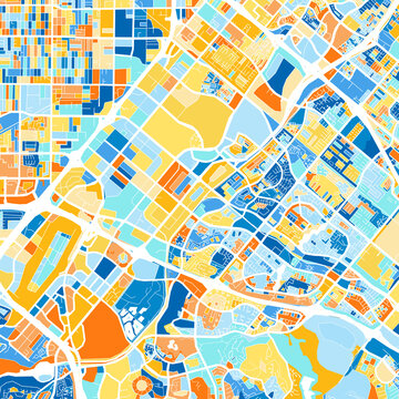 Art map of Irvine, UnitedStates in Blue Orange