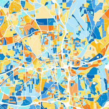 Art map of Winston-Salem, UnitedStates in Blue Orange