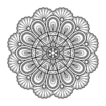 Outline Mandala decorative round ornament, hand drawn style - vector oriental ornament
