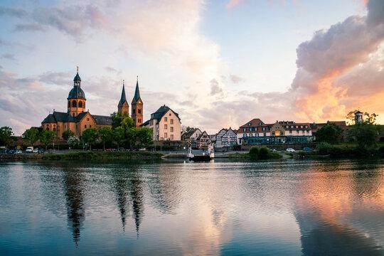 Beautiful shot of Klostergarten in Seligenstadt at sunset