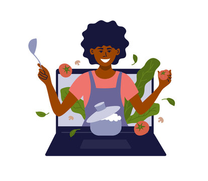 African american woman with kitchen utensils look out of laptop. Black female vlogger preparing healthy food online. Blog, show or cooking class. Culinary video broadcast, channel vector illustration